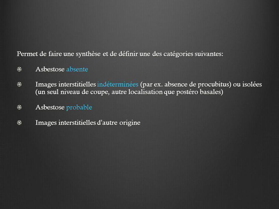 Permet de faire une synthèse et de définir une des catégories suivantes: Asbestose Asbestose absente Images interstitielles (par ex.
