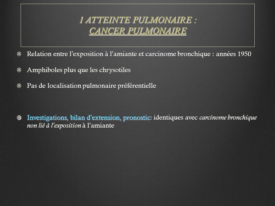 1 ATTEINTE PULMONAIRE : CANCER PULMONAIRE Relation entre l'exposition à l'amiante et carcinome bronchique : années 1950 Amphiboles plus que les chryso