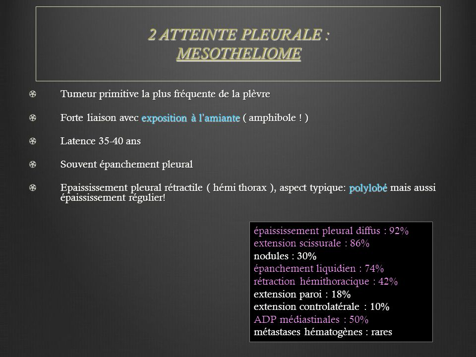 2 ATTEINTE PLEURALE : MESOTHELIOME Tumeur primitive la plus fréquente de la plèvre Forte liaison avec exposition à l'amiante ( amphibole ! ) Latence 3