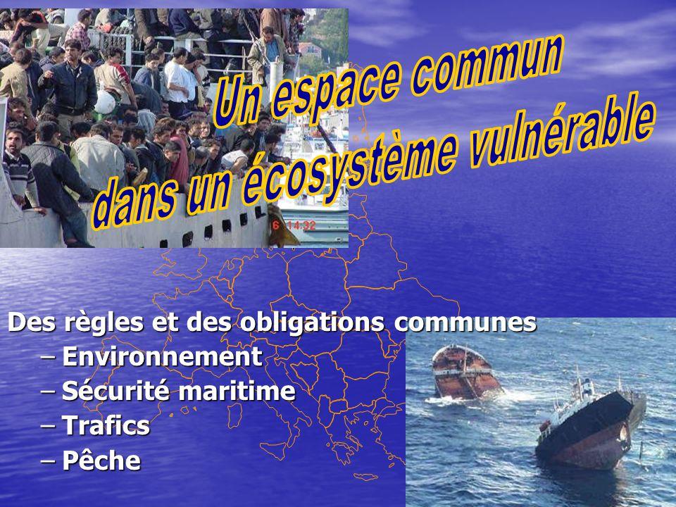 Des règles et des obligations communes –Environnement –Sécurité maritime –Trafics –Pêche