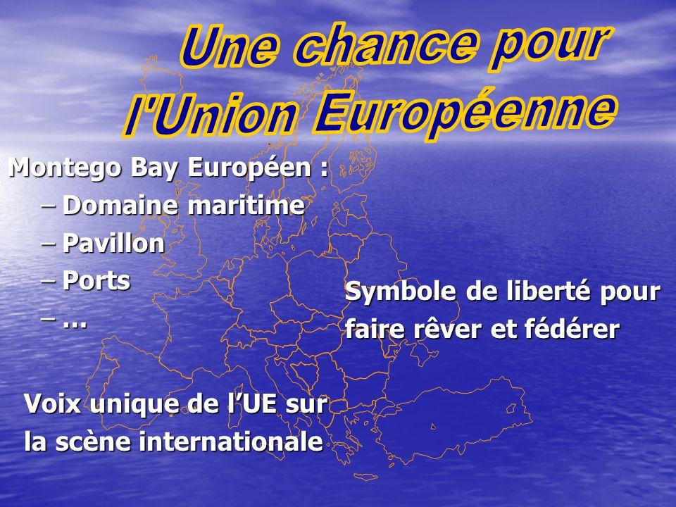 Montego Bay Européen : –Domaine maritime –Pavillon –Ports –… Symbole de liberté pour faire rêver et fédérer Voix unique de l'UE sur la scène internationale