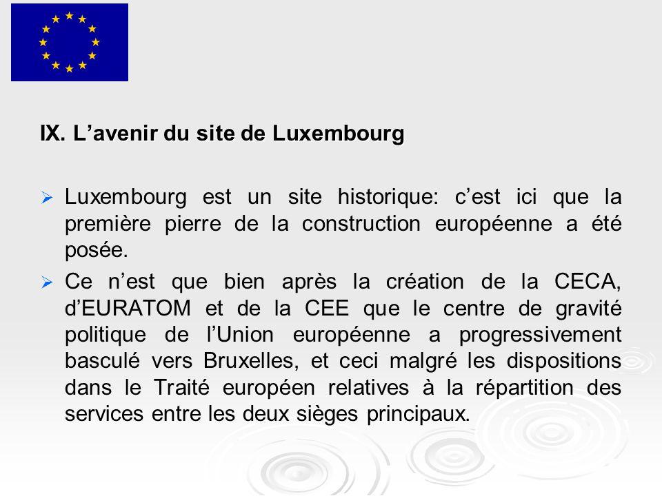 IX. L'avenir du site de Luxembourg   Luxembourg est un site historique: c'est ici que la première pierre de la construction européenne a été posée.