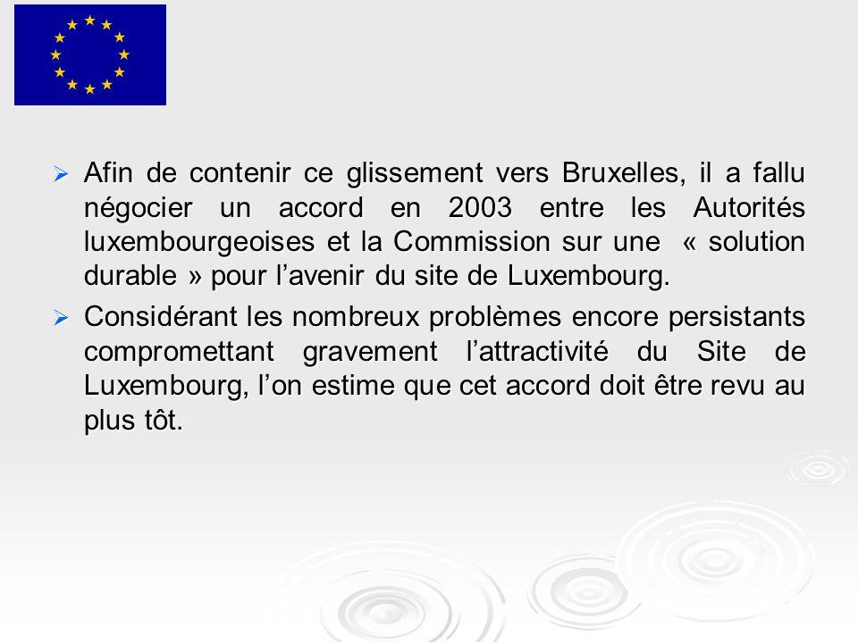  Afin de contenir ce glissement vers Bruxelles, il a fallu négocier un accord en 2003 entre les Autorités luxembourgeoises et la Commission sur une « solution durable » pour l'avenir du site de Luxembourg.