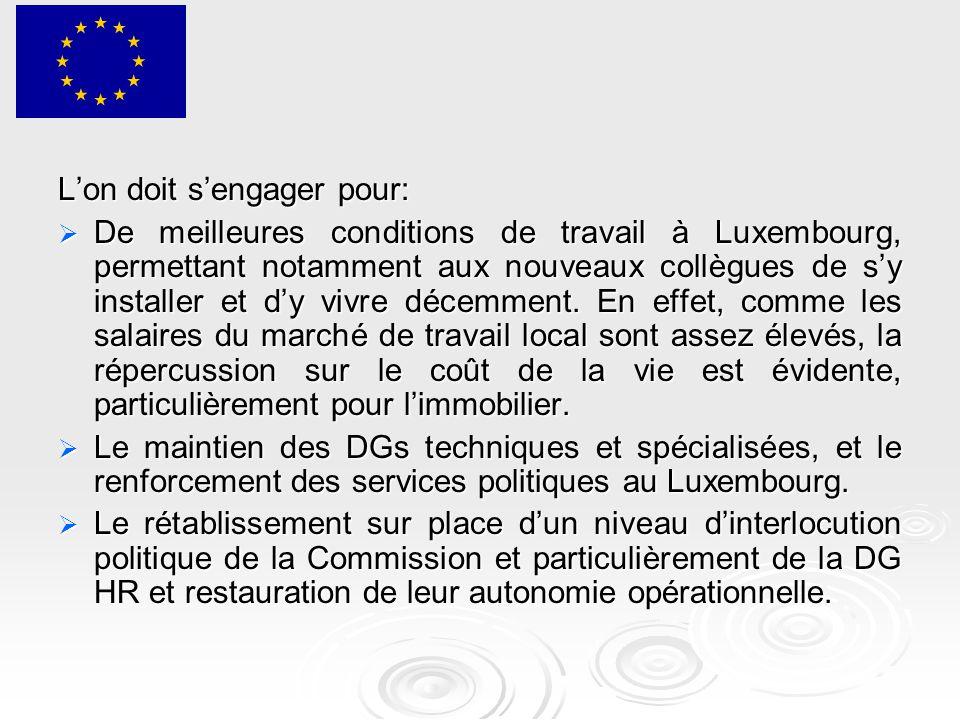 L'on doit s'engager pour:  De meilleures conditions de travail à Luxembourg, permettant notamment aux nouveaux collègues de s'y installer et d'y vivre décemment.