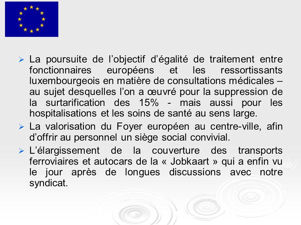  La poursuite de l'objectif d'égalité de traitement entre fonctionnaires européens et les ressortissants luxembourgeois en matière de consultations médicales – au sujet desquelles l'on a œuvré pour la suppression de la surtarification des 15% - mais aussi pour les hospitalisations et les soins de santé au sens large.