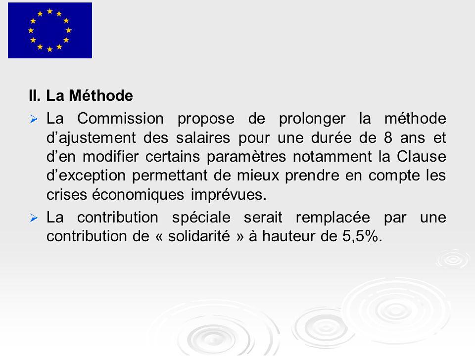 II. La Méthode  La Commission propose de prolonger la méthode d'ajustement des salaires pour une durée de 8 ans et d'en modifier certains paramètres