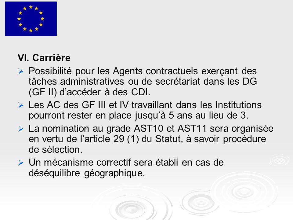 VI. Carrière  Possibilité pour les Agents contractuels exerçant des tâches administratives ou de secrétariat dans les DG (GF II) d'accéder à des CDI.