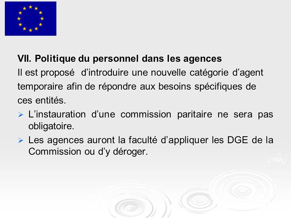 VII. Politique du personnel dans les agences Il est proposé d'introduire une nouvelle catégorie d'agent temporaire afin de répondre aux besoins spécif
