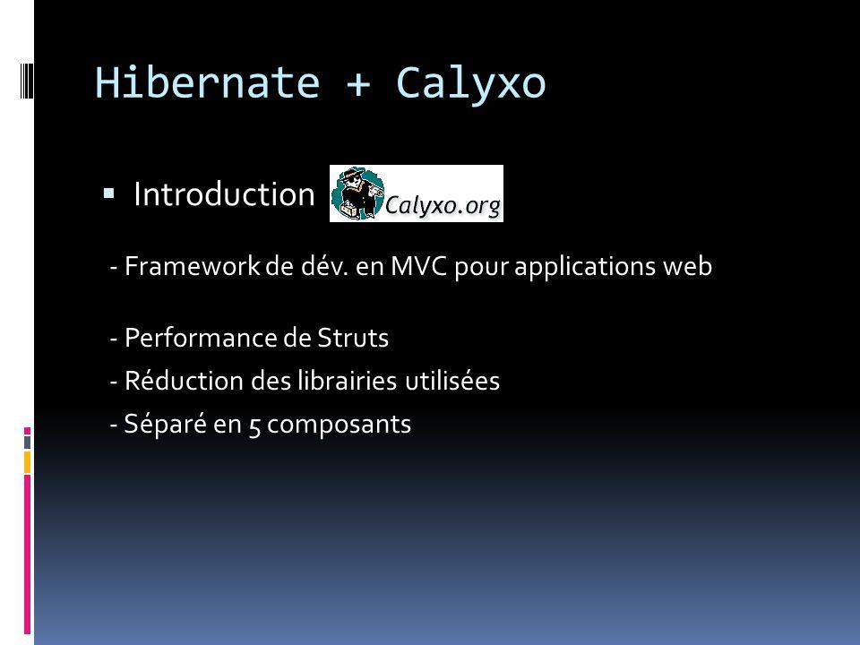 Hibernate + Calyxo  Introduction - Performance de Struts - Réduction des librairies utilisées - Séparé en 5 composants - Framework de dév.
