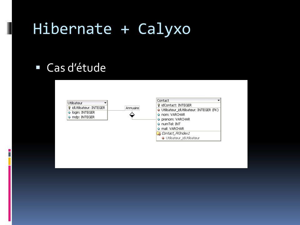 Hibernate + Calyxo  Cas d'étude Fichier de configuration