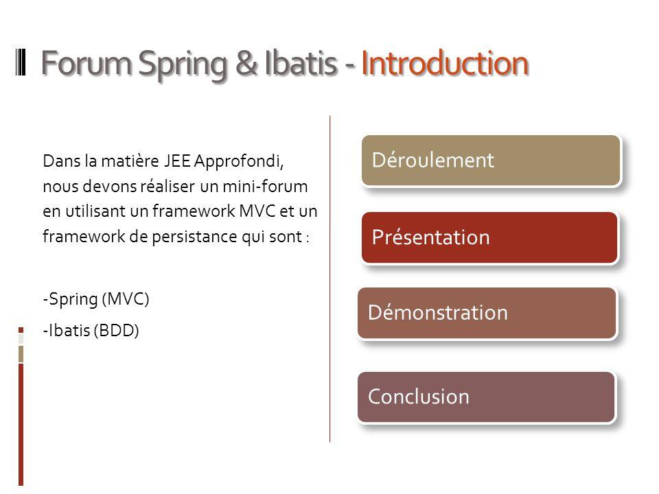 Forum Spring & Ibatis - Introduction Dans la matière JEE Approfondi, nous devons réaliser un mini-forum en utilisant un framework MVC et un framework de persistance qui sont : -Spring (MVC) -Ibatis (BDD) PrésentationDéroulementDémonstrationConclusion