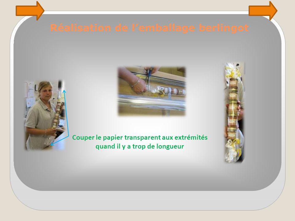 Réalisation de l'emballage berlingot Couper le papier transparent aux extrémités quand il y a trop de longueur