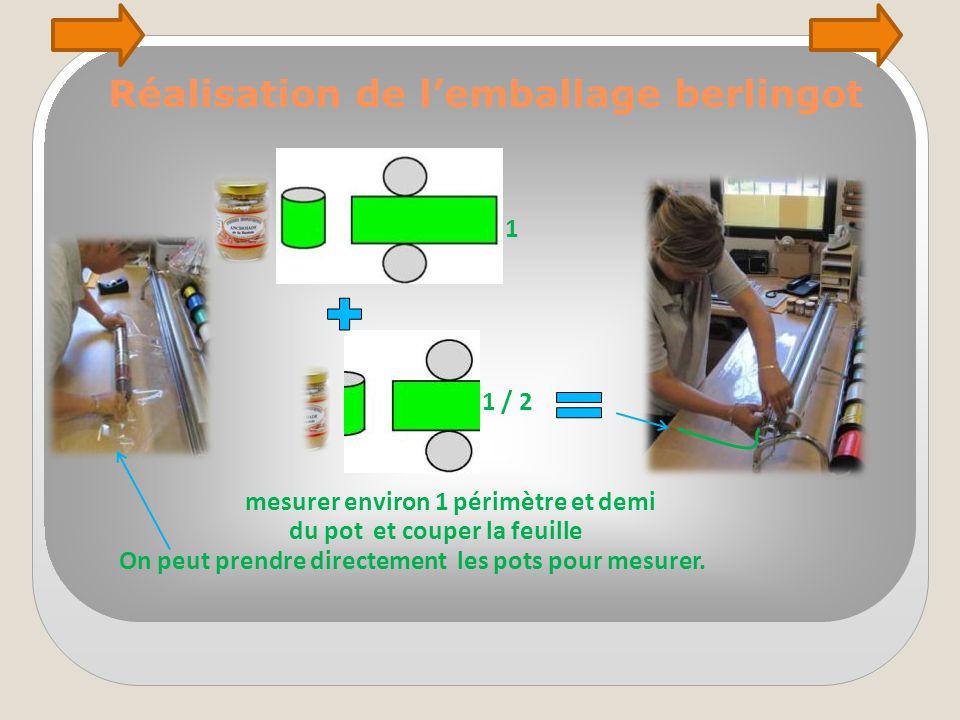 Réalisation de l'emballage berlingot mesurer environ 1 périmètre et demi du pot et couper la feuille On peut prendre directement les pots pour mesurer.