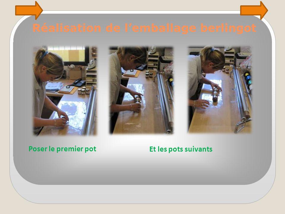 Réalisation de l'emballage berlingot Et les pots suivants Poser le premier pot