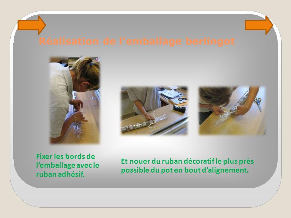 Réalisation de l'emballage berlingot Fixer les bords de l'emballage avec le ruban adhésif. Et nouer du ruban décoratif le plus près possible du pot en
