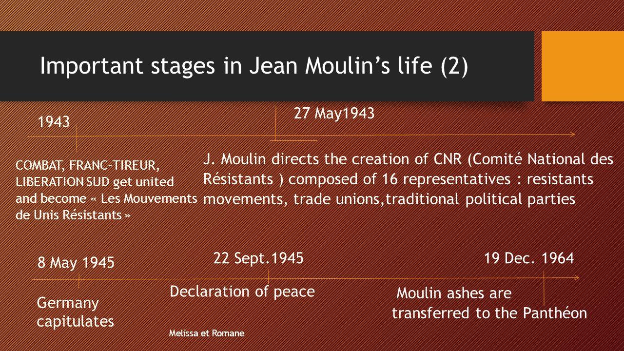 Important stages in Jean Moulin's life (2) 1943 COMBAT, FRANC-TIREUR, LIBERATION SUD get united and become « Les Mouvements de Unis Résistants » 27 Ma
