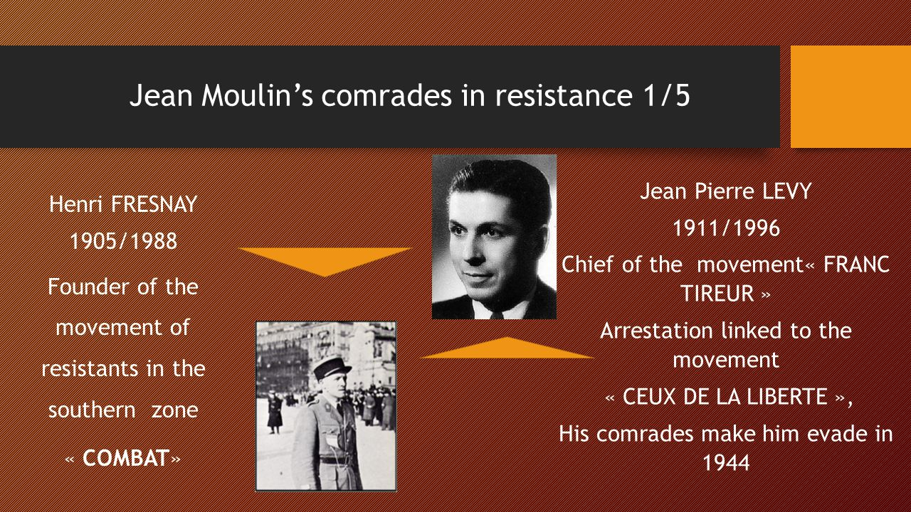 Jean Moulin's comrades in resistance 1/5 Henri FRESNAY 1905/1988 Founder of the movement of resistants in the southern zone « COMBAT» Jean Pierre LEVY