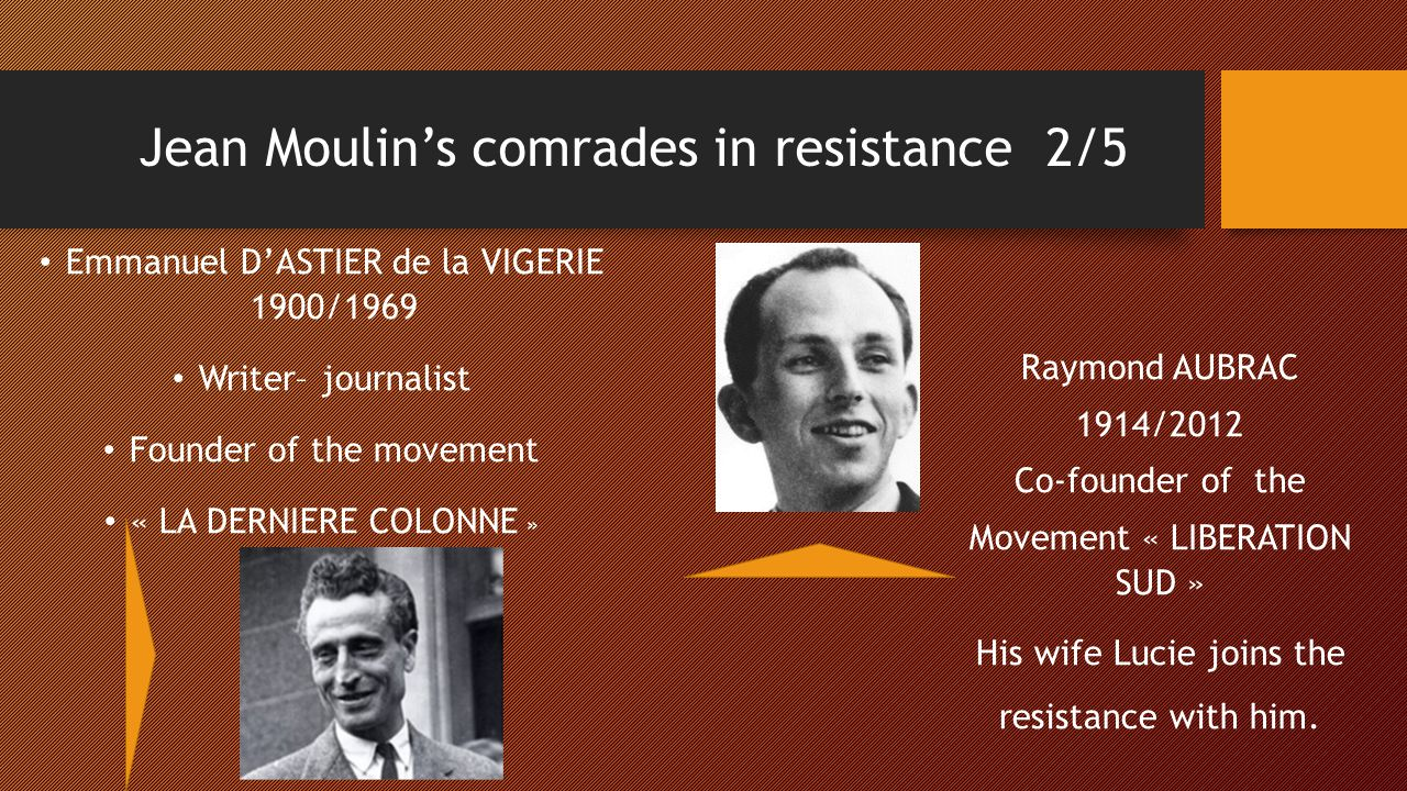 Jean Moulin's comrades in resistance 3/5 Henri AUBRY 1914/1970 In the movement « COMBAT » Arrested in Caluire with Jean MOULIN.