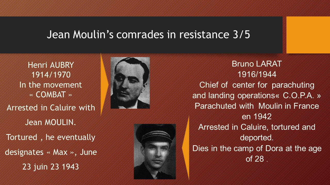Jean Moulin's comrades in resistance 3/5 Henri AUBRY 1914/1970 In the movement « COMBAT » Arrested in Caluire with Jean MOULIN. Tortured, he eventuall