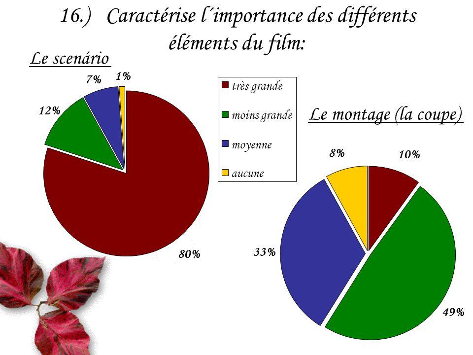 16.)Caractérise l´importance des différents éléments du film: Le scenário 12% 7% 1% 80% très grande moins grande moyenne aucune 49% 33% 8% 10% Le montage (la coupe)
