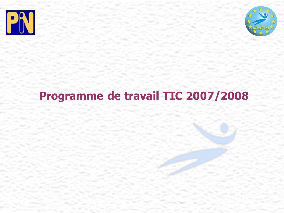Programme de travail TIC 2007/2008