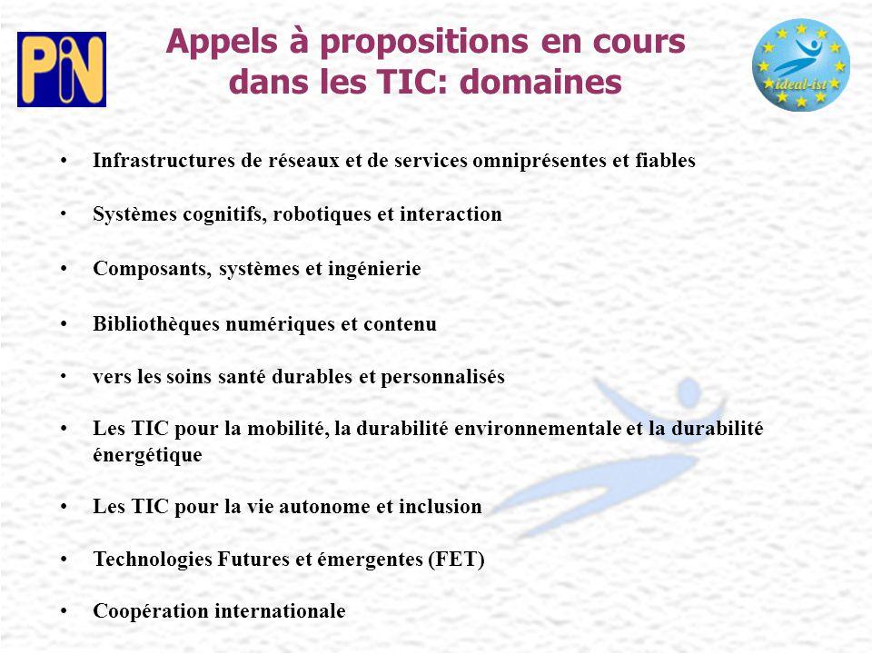 Appels à propositions en cours dans les TIC: domaines Infrastructures de réseaux et de services omniprésentes et fiables Systèmes cognitifs, robotique