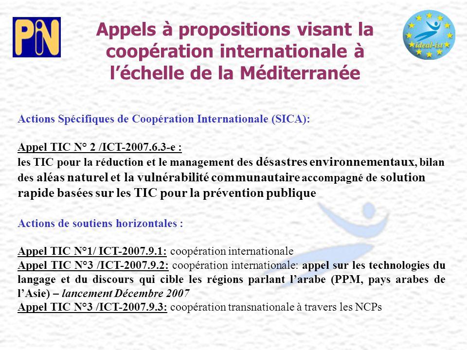 Appels à propositions visant la coopération internationale à l'échelle de la Méditerranée Actions Spécifiques de Coopération Internationale (SICA): Ap