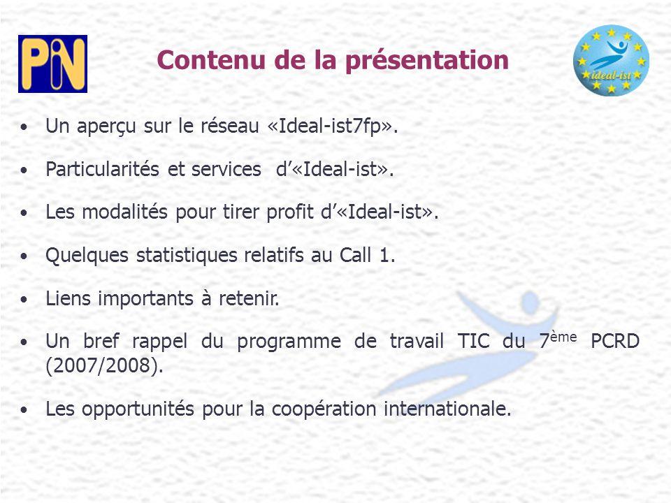 Un aperçu sur le réseau «Ideal-ist7fp». Particularités et services d'«Ideal-ist». Les modalités pour tirer profit d'«Ideal-ist». Quelques statistiques