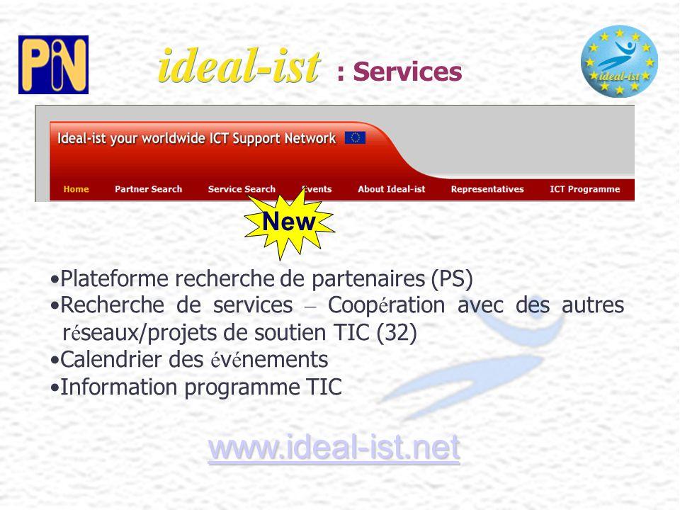 Plateforme recherche de partenaires (PS) Recherche de services – Coop é ration avec des autres r é seaux/projets de soutien TIC (32) Calendrier des é