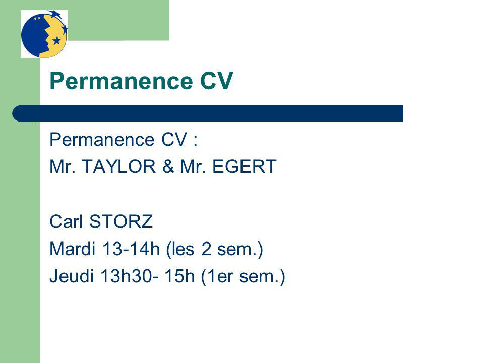Permanence CV Permanence CV : Mr. TAYLOR & Mr.