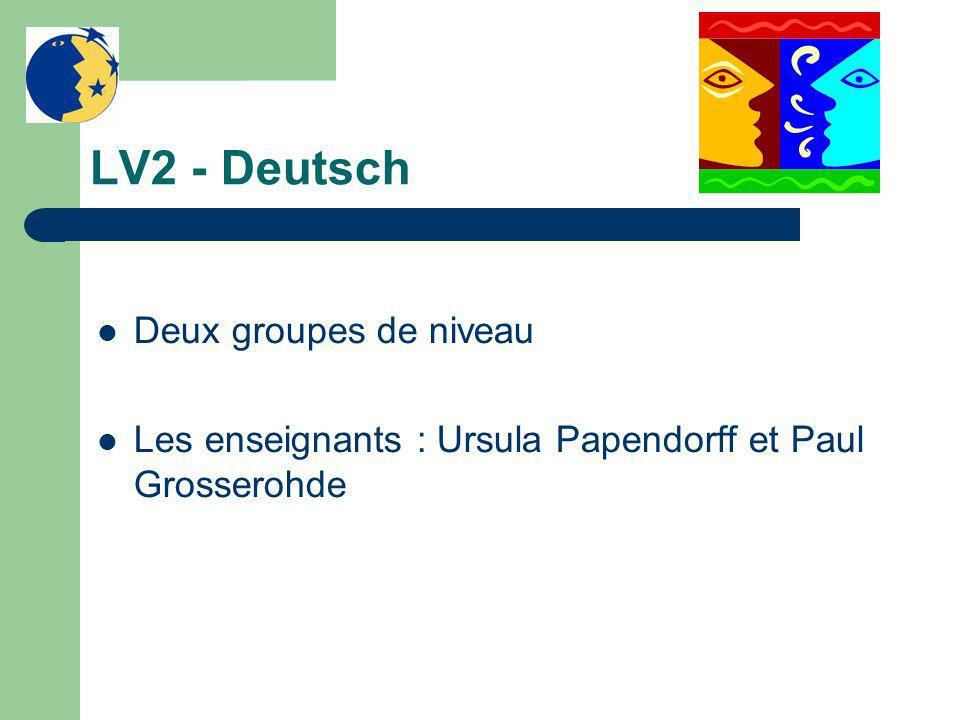 LV2 - Deutsch Deux groupes de niveau Les enseignants : Ursula Papendorff et Paul Grosserohde