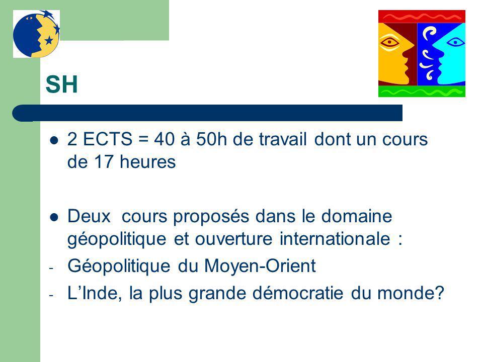 SH 2 ECTS = 40 à 50h de travail dont un cours de 17 heures Deux cours proposés dans le domaine géopolitique et ouverture internationale : - Géopolitiq