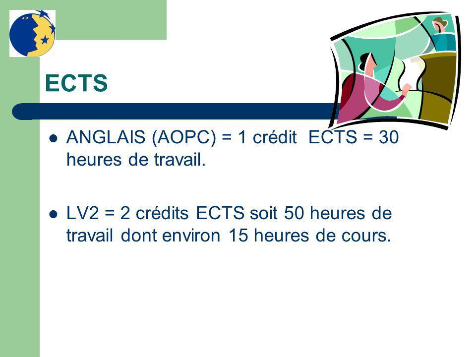 ECTS ANGLAIS (AOPC) = 1 crédit ECTS = 30 heures de travail. LV2 = 2 crédits ECTS soit 50 heures de travail dont environ 15 heures de cours.