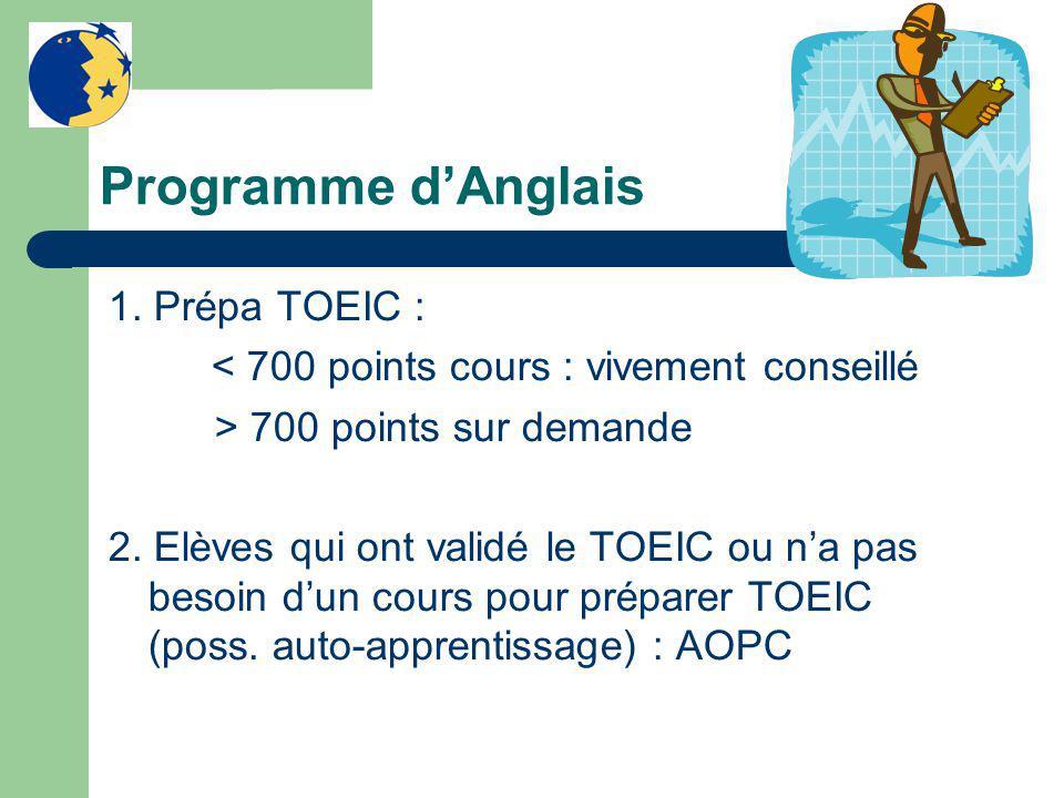 Programme d'Anglais 1. Prépa TOEIC : < 700 points cours : vivement conseillé > 700 points sur demande 2. Elèves qui ont validé le TOEIC ou n'a pas bes
