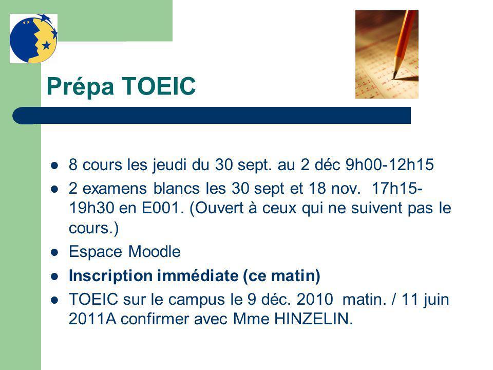 Prépa TOEIC 8 cours les jeudi du 30 sept.