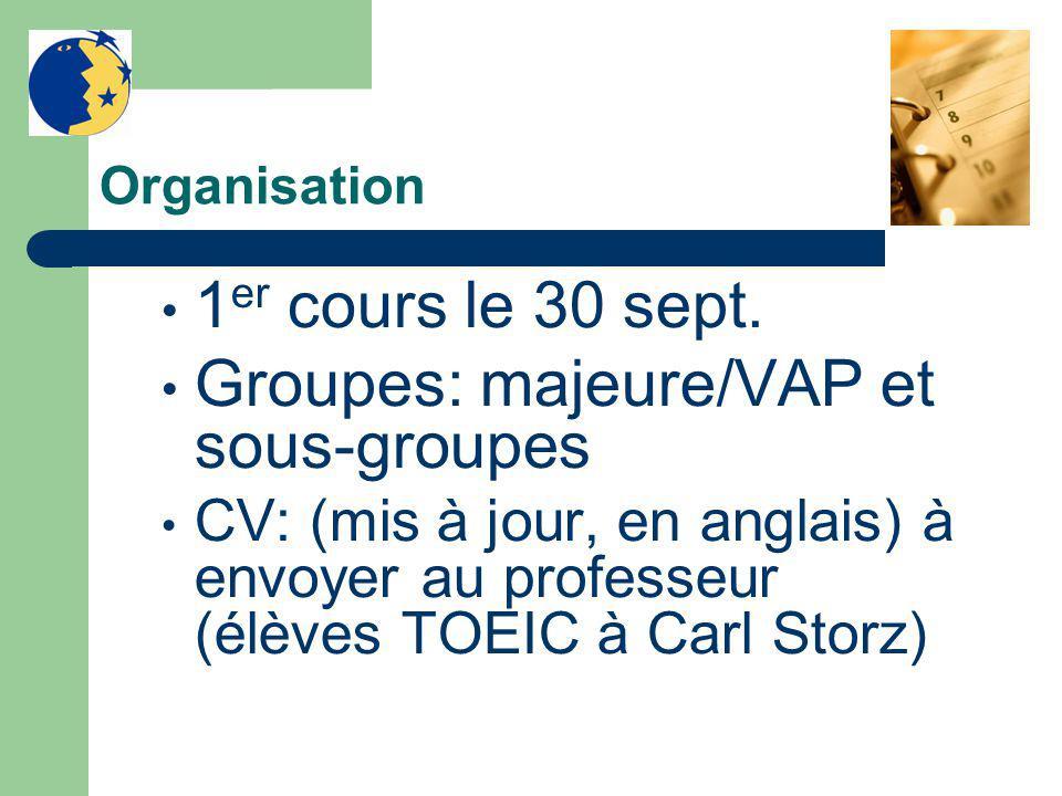 Organisation 1 er cours le 30 sept. Groupes: majeure/VAP et sous-groupes CV: (mis à jour, en anglais) à envoyer au professeur (élèves TOEIC à Carl Sto