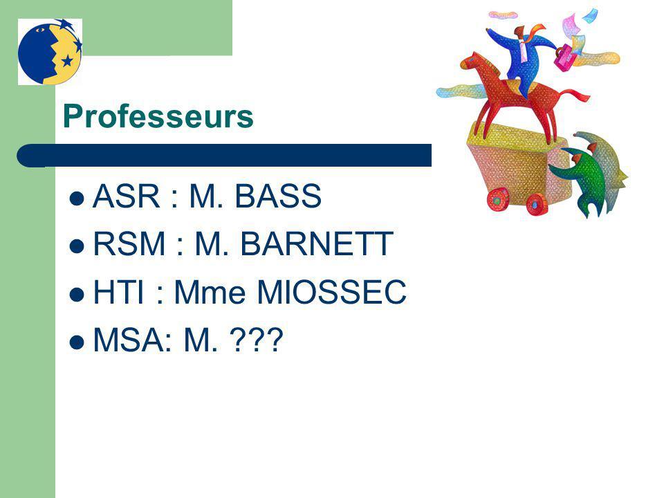 Professeurs ASR : M. BASS RSM : M. BARNETT HTI : Mme MIOSSEC MSA: M.