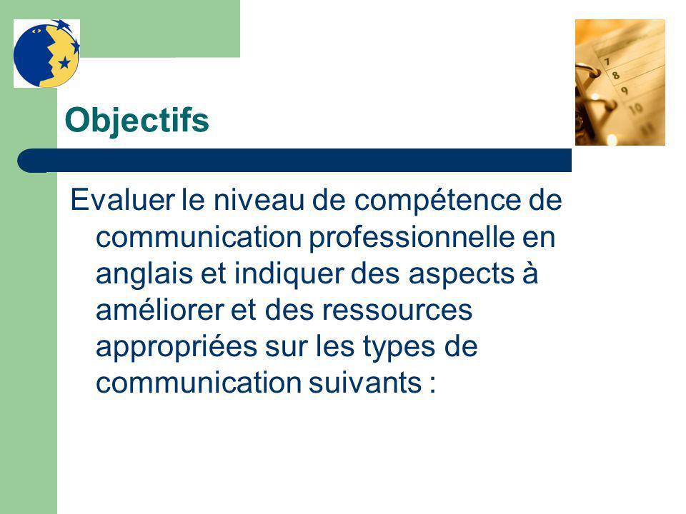 Objectifs Evaluer le niveau de compétence de communication professionnelle en anglais et indiquer des aspects à améliorer et des ressources appropriées sur les types de communication suivants :