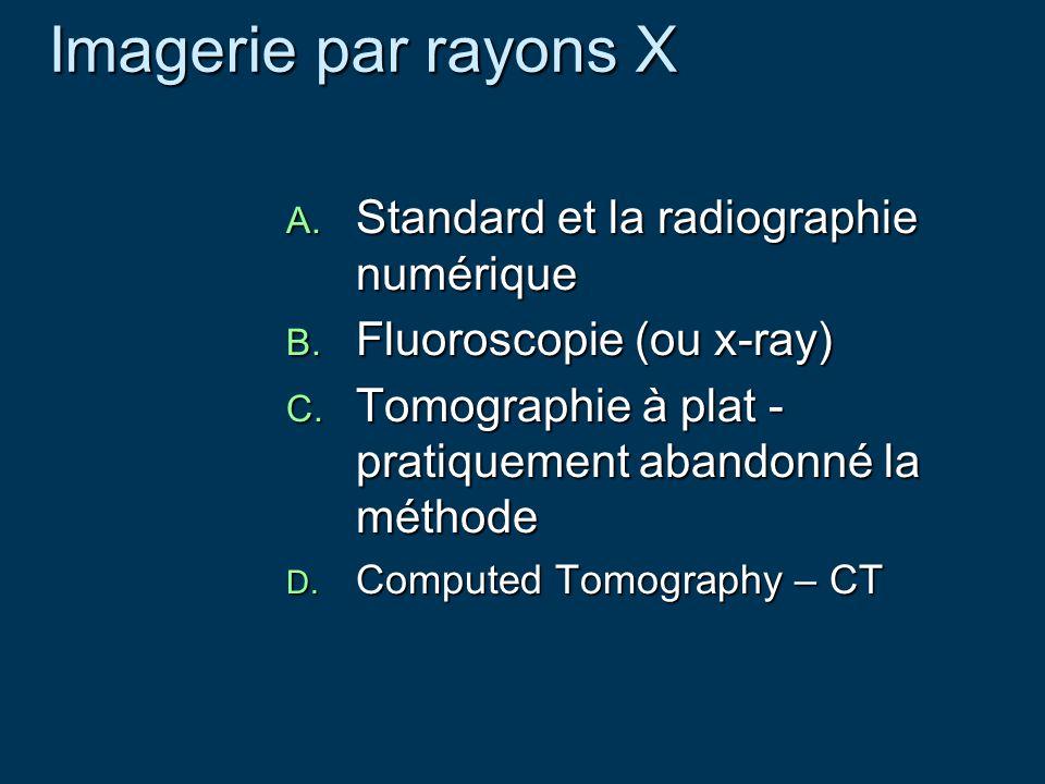 Imagerie par rayons X Imagerie par rayons X A. Standard et la radiographie numérique B. Fluoroscopie (ou x-ray) C. Tomographie à plat - pratiquement a