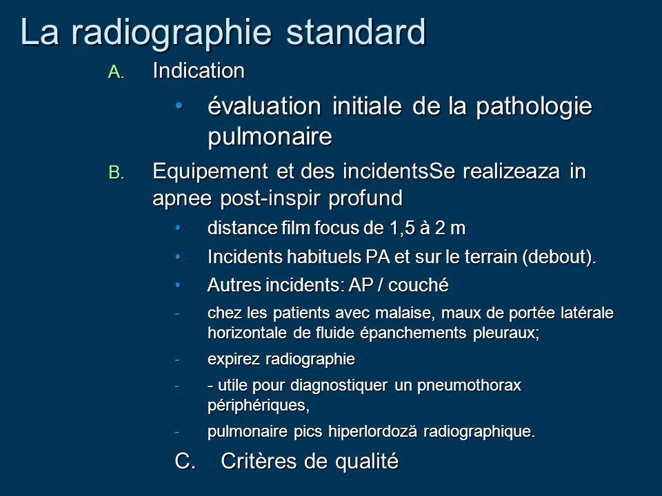 La radiographie standard A. Indication évaluation initiale de la pathologie pulmonaireévaluation initiale de la pathologie pulmonaire B. Equipement et
