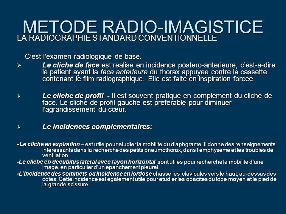 METODE RADIO-IMAGISTICE  LA RADIOGRAPHIE STANDARD NUMERISEE Elle est en plein essor du fait de ses nombreux avantages : Elle est en plein essor du fait de ses nombreux avantages : -qualite d'image reproductible ; -suppression de la rigidite du support ; -manipulation seccondaires de l'image ; -transmission des images par des systemes de reseaux ; -stokage sur disque optique ; -utilisation de par le radiologique si besoin.