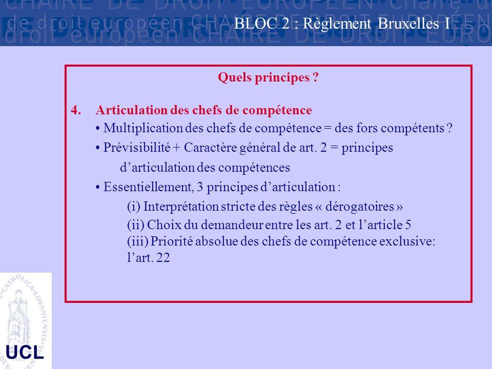 UCL Quels principes ? 4.Articulation des chefs de compétence Multiplication des chefs de compétence = des fors compétents ? Prévisibilité + Caractère