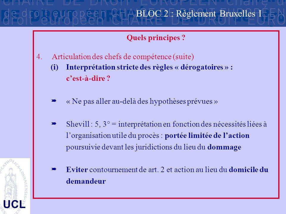 UCL Quels principes ? 4.Articulation des chefs de compétence (suite) (i)Interprétation stricte des règles « dérogatoires » : c'est-à-dire ?  « Ne pas