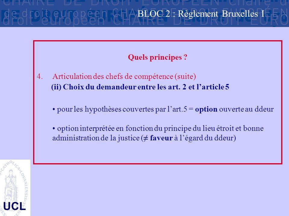 UCL Quels principes ? 4.Articulation des chefs de compétence (suite) (ii) Choix du demandeur entre les art. 2 et l'article 5 pour les hypothèses couve
