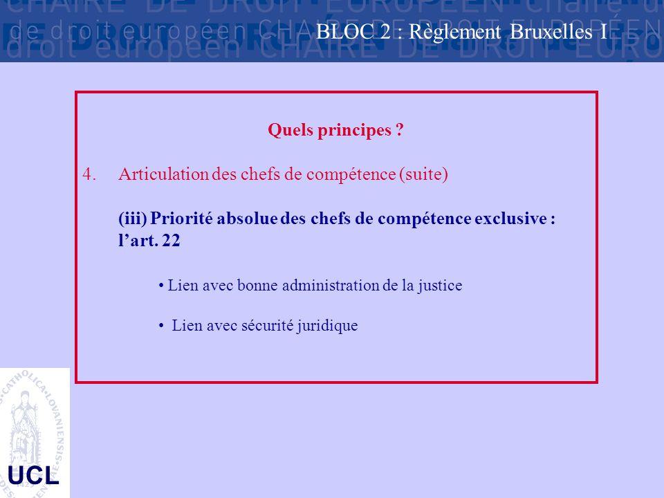 UCL Quels principes ? 4.Articulation des chefs de compétence (suite) (iii) Priorité absolue des chefs de compétence exclusive : l'art. 22 Lien avec bo