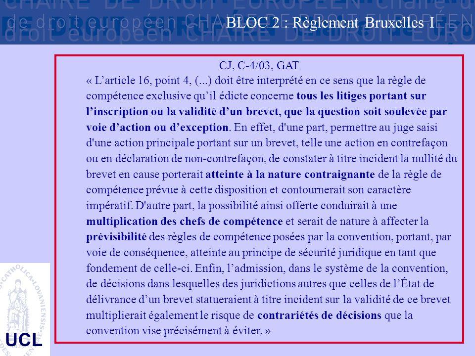 UCL CJ, C-4/03, GAT « L'article 16, point 4, (...) doit être interprété en ce sens que la règle de compétence exclusive qu'il édicte concerne tous les litiges portant sur l'inscription ou la validité d'un brevet, que la question soit soulevée par voie d'action ou d'exception.