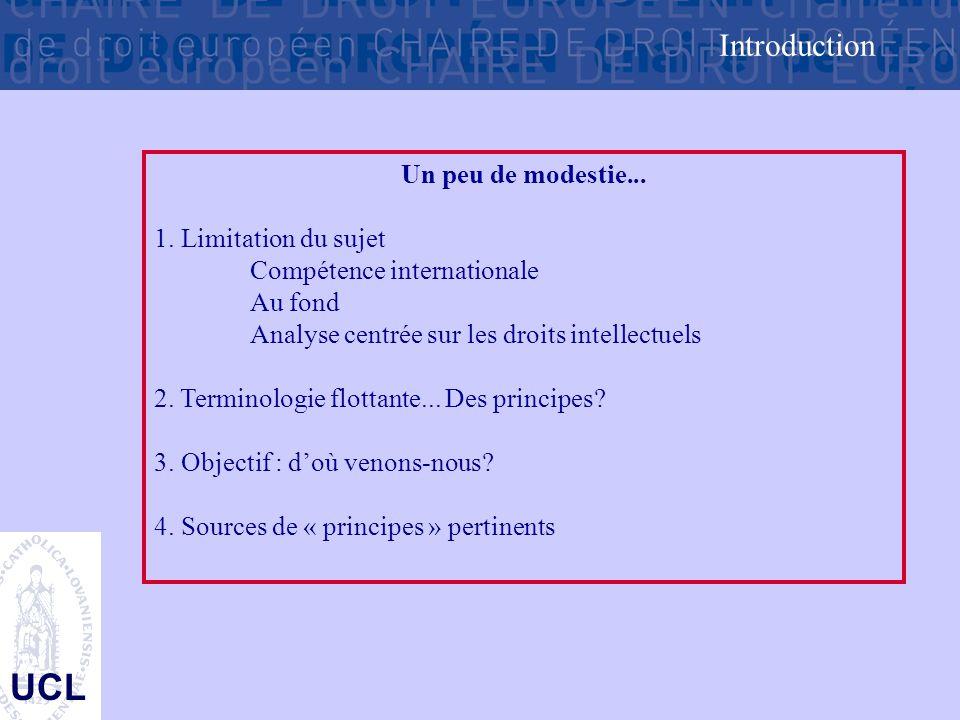 UCL Un peu de modestie... 1. Limitation du sujet Compétence internationale Au fond Analyse centrée sur les droits intellectuels 2. Terminologie flotta