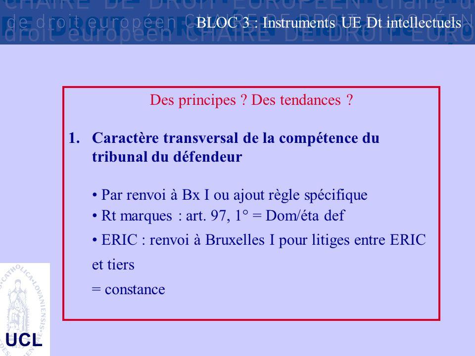 UCL Des principes ? Des tendances ? 1.Caractère transversal de la compétence du tribunal du défendeur Par renvoi à Bx I ou ajout règle spécifique Rt m