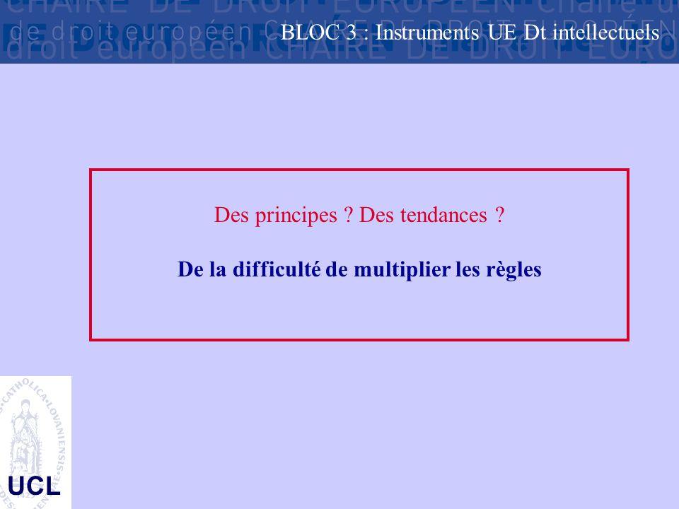 UCL Des principes ? Des tendances ? De la difficulté de multiplier les règles BLOC 3 : Instruments UE Dt intellectuels