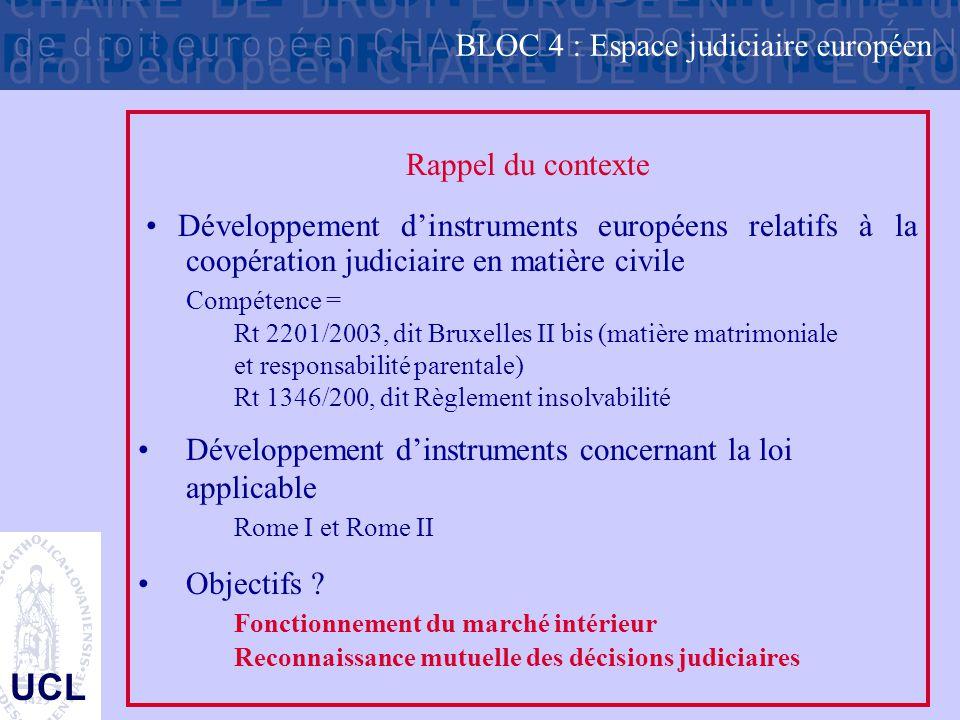 UCL Rappel du contexte Développement d'instruments européens relatifs à la coopération judiciaire en matière civile Compétence = Rt 2201/2003, dit Bru